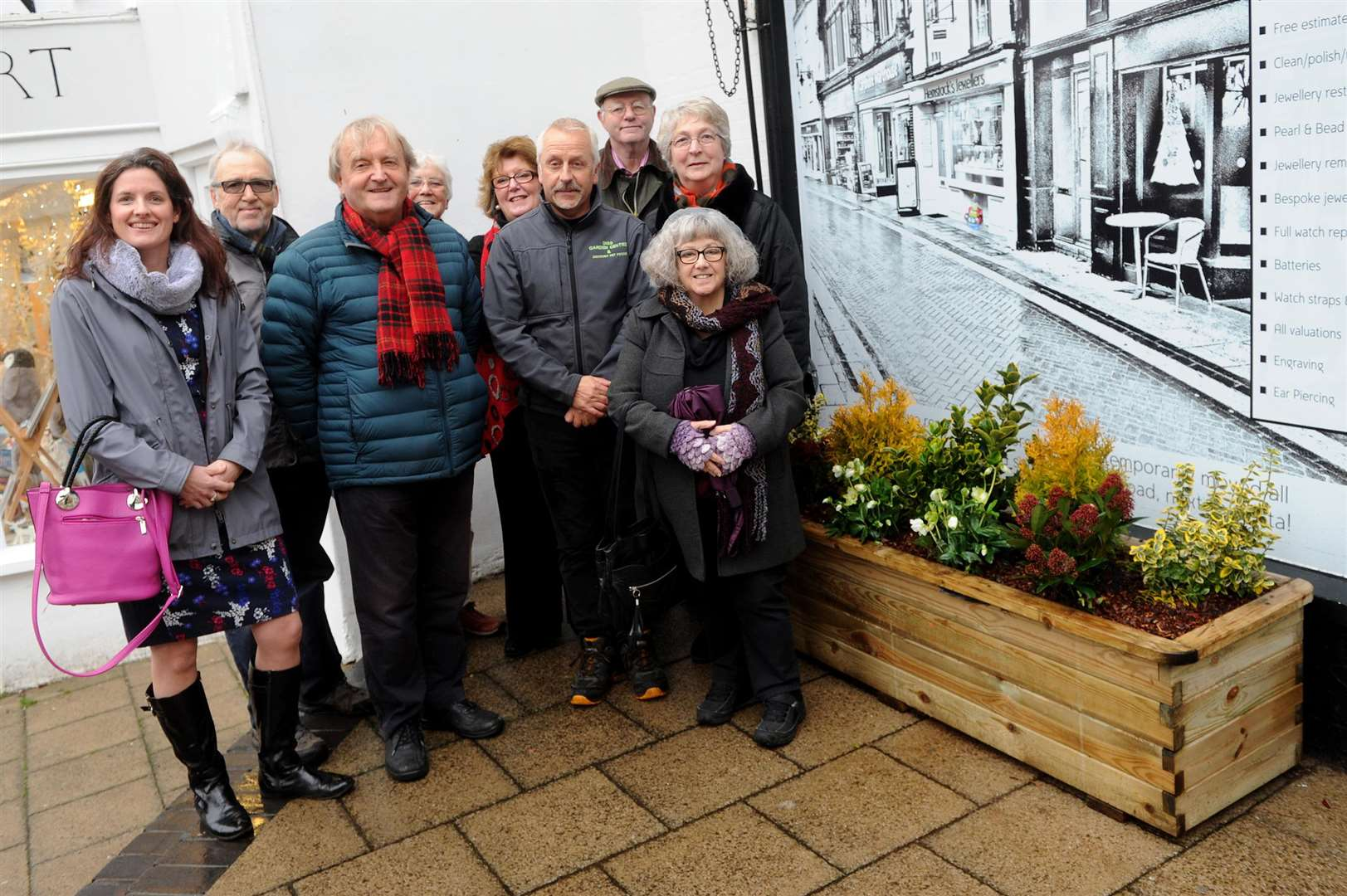 Doreen Collins (far right, centre) with supporters of Floral Diss.