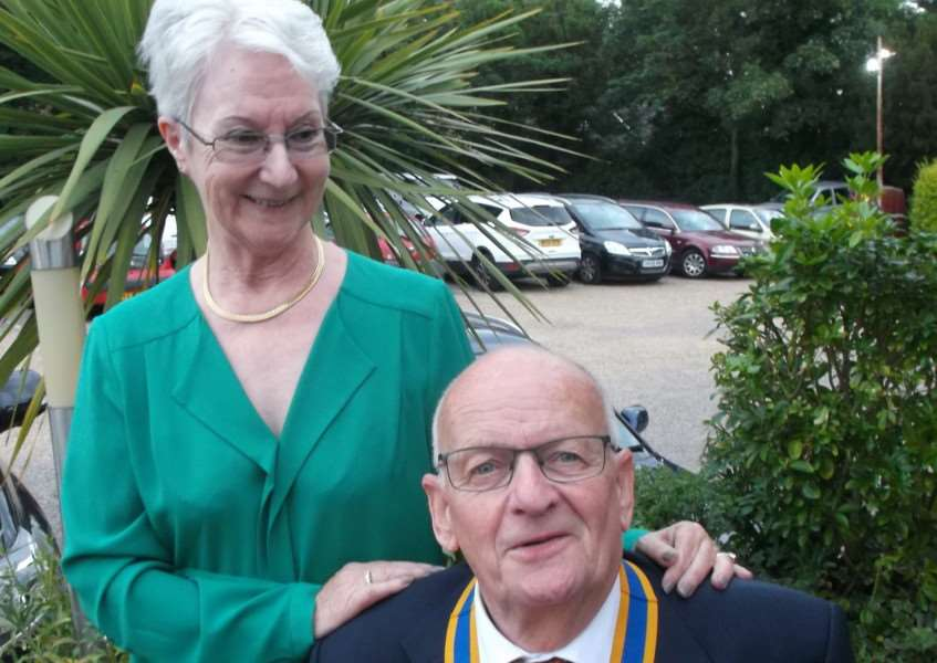 Diss and District Rotary Club President Clive Sinfield, with the outgoing Heather Babb. Submitted photo.