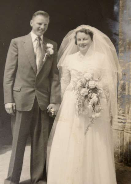 Diamond Wedding Anniversary. Janet and Alf Chambers on their wedding day in 1955.