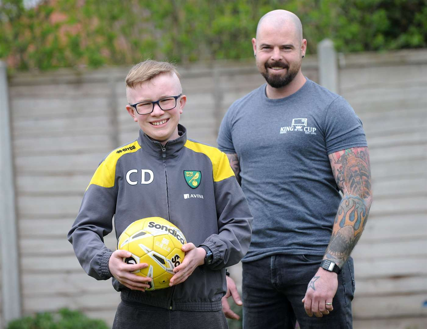 Callum, who was a mascot at Norwich City's game against Reading on Wednesday, with Bobby Kilkenny. Picture: Mecha Morton