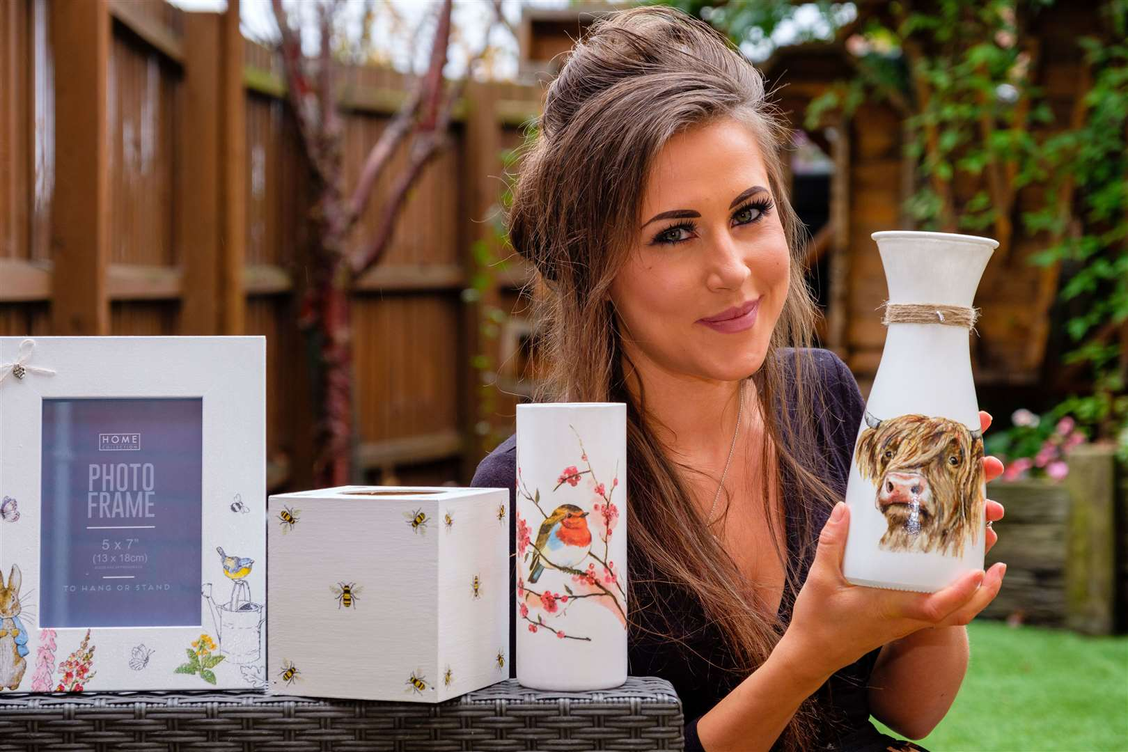 Emma Moyes sells homemade decorative items from her home in Kenninghall.	Picture: Mark Bullimore Photography.