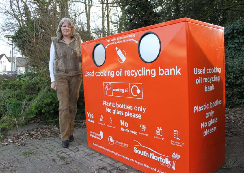 Cllr Kay Mason-Billig at the new oil recycling bank in Long Stratton.