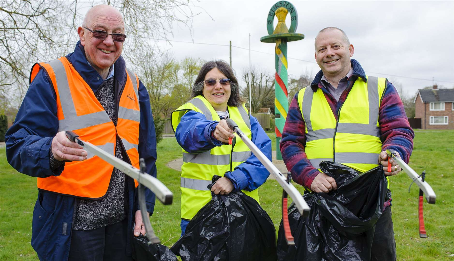 Nigel Frankland, Alison Wakeham and Jim Rudd were among the 20 people who took part in the litter pick. Pictures by Mark Bullimore.