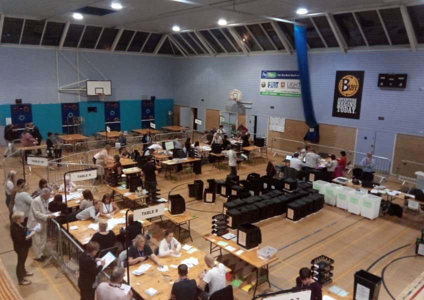 The election count at Bury St Edmunds Leisure Centre