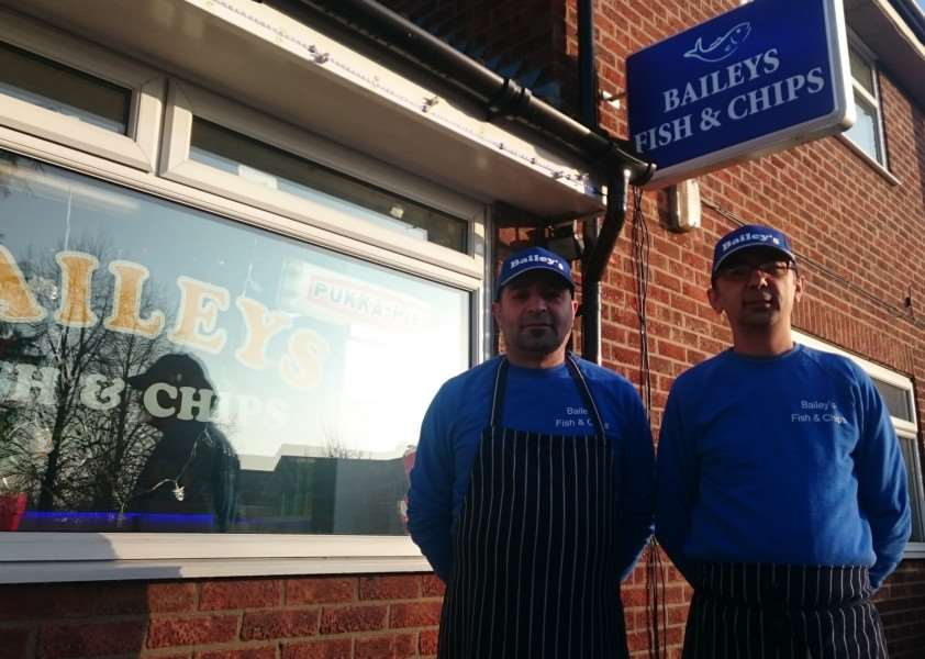 Mehmet Tasci (left) and Cengiz Bolat, of Baileys Fish and Chip shop, Diss. ANL-161228-170710001