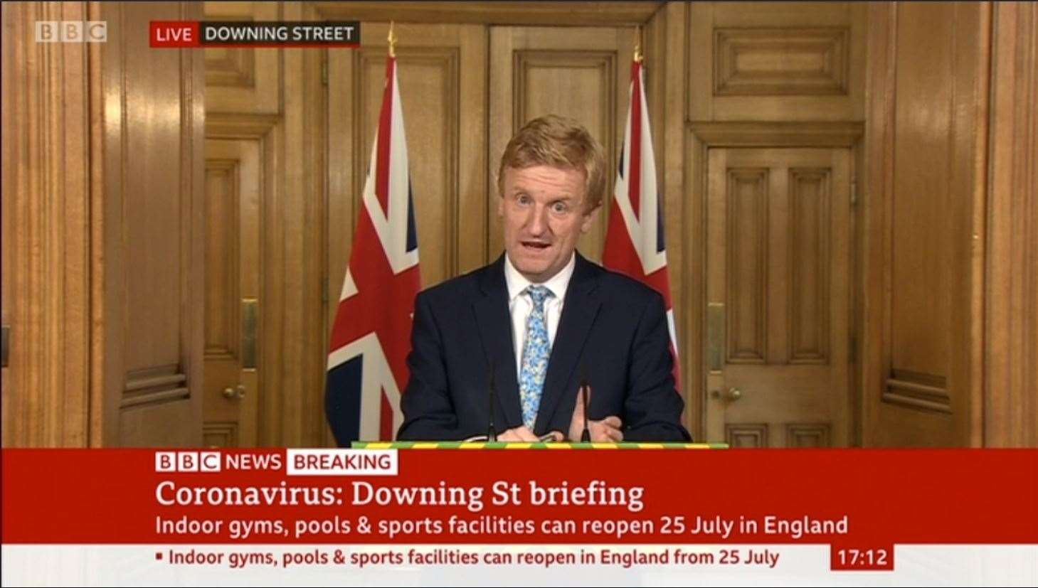Oliver Dowden, the secretary of state for culture, media and sport takes a government press conference dealing with the unlocking of sports facilities(38159610)