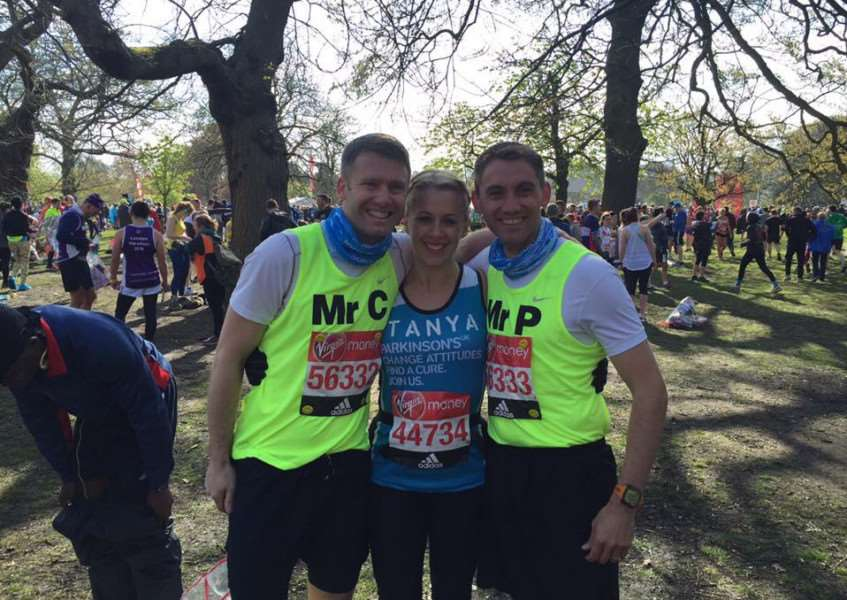 London Marathon 2016 - from left: Rob Connelly, Tanya Holloway, Ben Player.