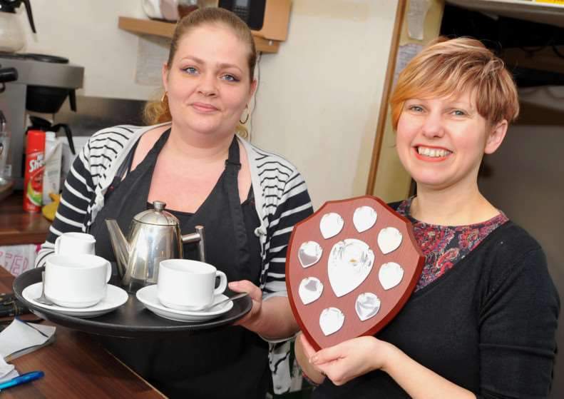 Mere Moments Coffee House in Diss has won the award for South Norfolk Independent Retailer of the Year 2015.''Pictured: Lucy Cannon and Manager Sharon Loome ANL-150403-163524009