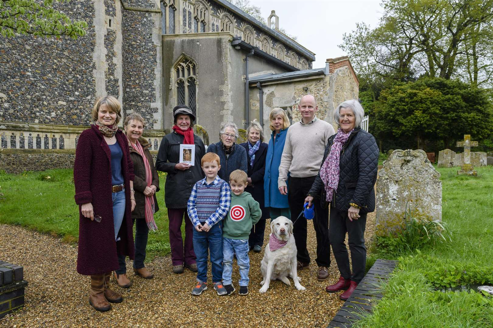 Bressingham, Norfolk. Group of villagers celebrating restoration completion of St John the Baptist church in Bressingham. Picture: Mark Bullimore Photography (1972755)