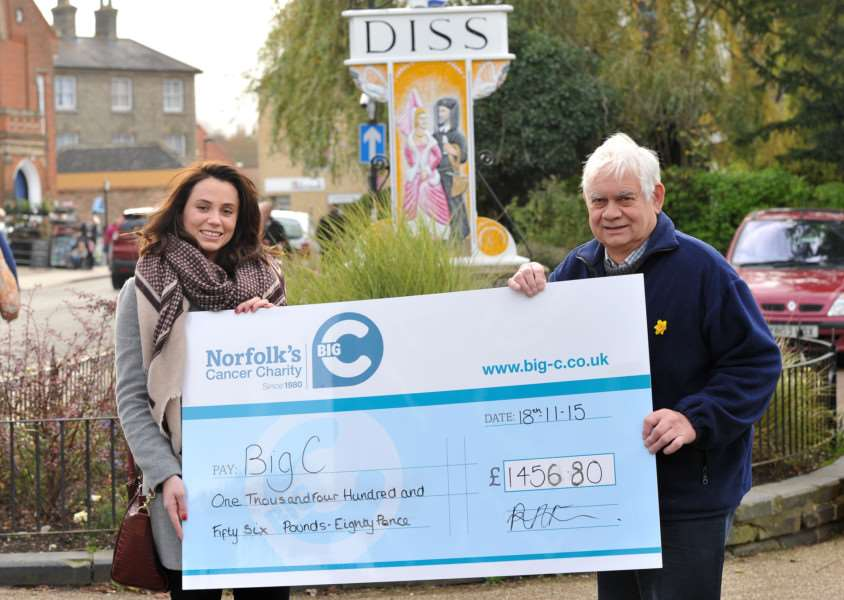 Dennis Cross presented his charity cheque following his successful calendar sale.''Pictured: Rachel Francis (Corporate and Community Fundraiser at Big C) and Dennis Cross ANL-151118-160603009