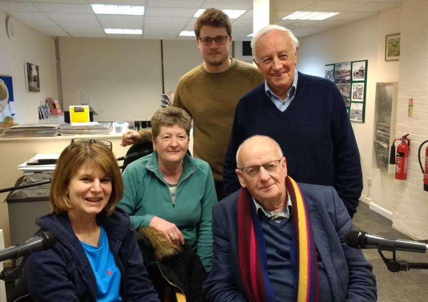 Waveney Words talking newspaper volunteers Ollie Allen and Brian Dent standing, and from left Riana Halil, June Adams and Clive Sinfield