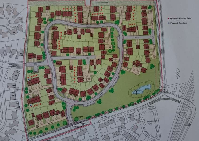 The new proposed layout for a 136 homes plan in Frenze Hall Lane, Diss. ANL-160706-143856001