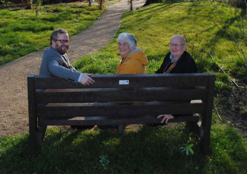 The Diss and District Rotary Club has donated a bench to the new wildlife garden in the Heritage Triangle. The town mayor, Councillor Trevor Wenman, attended the official handover of the bench from Rotary Club members, Alison Bannister and Clive Sinfield. Submitted picture.