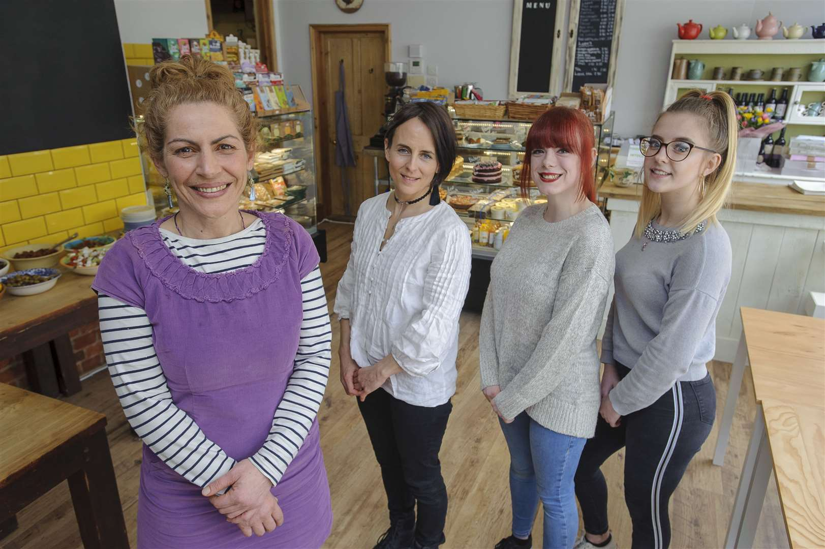Erasmia Kyriakou, Jessica Livsey, Elly Armistead and Cara Yaxley of The Hungry Cat Café in Harleston. Picture by Mark Bullimore.