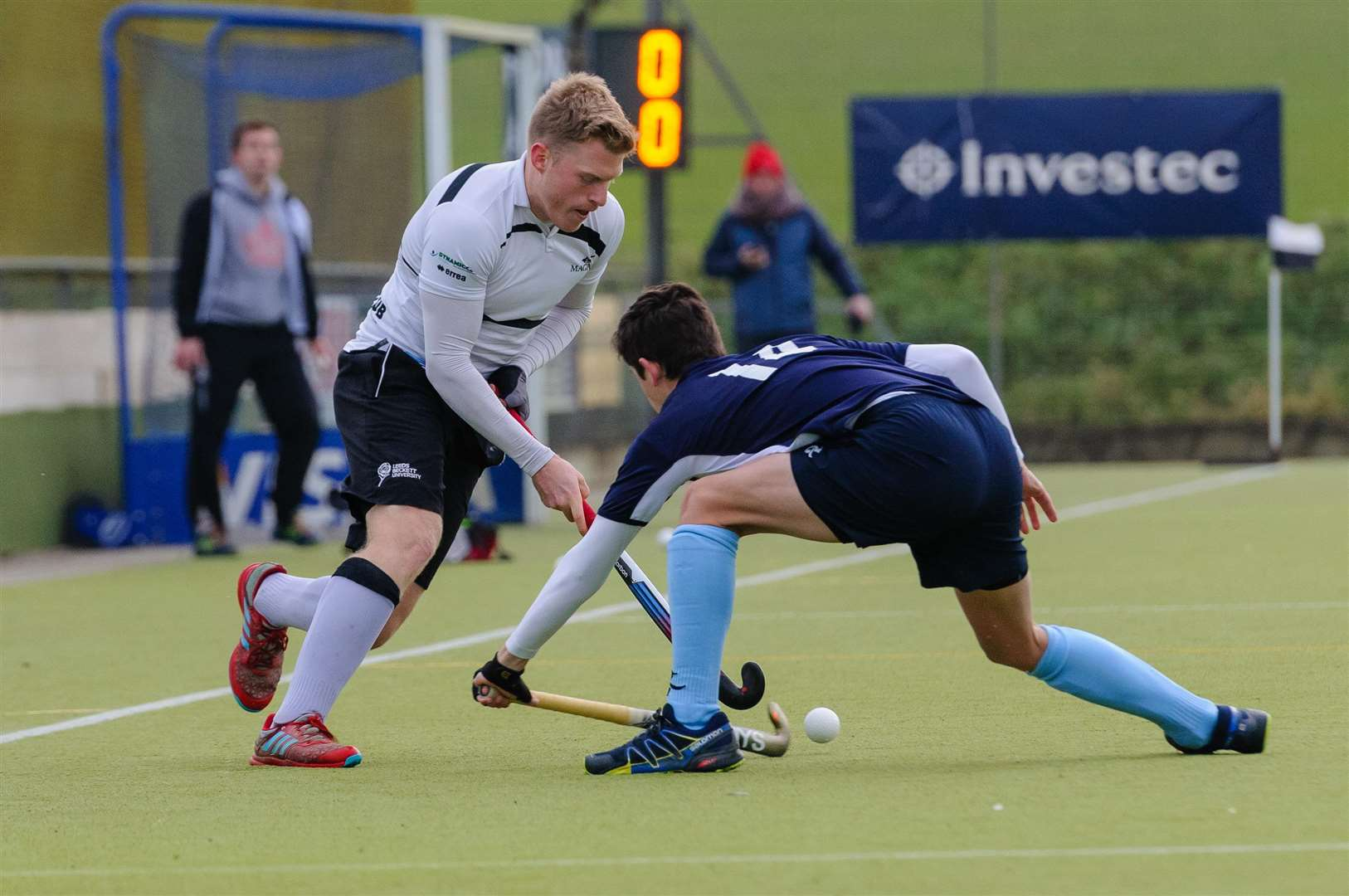 Hockey action from Harleston Magpies Men's 1st v West Herts - Ollie Whiteman..Picture by Mark Bullimore Photography. (6022304)