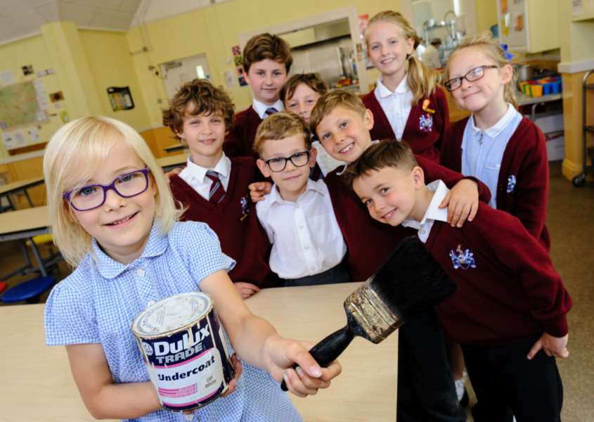 Sir Robert Hitcham's Primary School has been shortlisted for a Dulux competition to revamp the school's dinning hall, pictured are members of the school council in the dining room. Pictured is Sophia Scurrell. Picture: MARK BULLIMORE