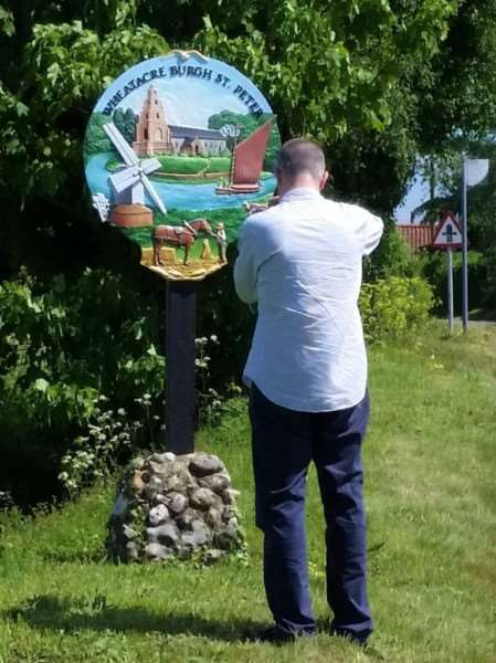 Andrew Tullet plans to visit every village sign in Norfolk. Submitted picture.