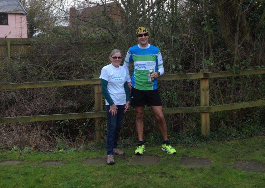 Gary Pearson, of Finningham, with mother-in-law Brenda Hailstone. Mr Pearson is running the 2016 London Marathon in aid of the Alzheimer's Society.