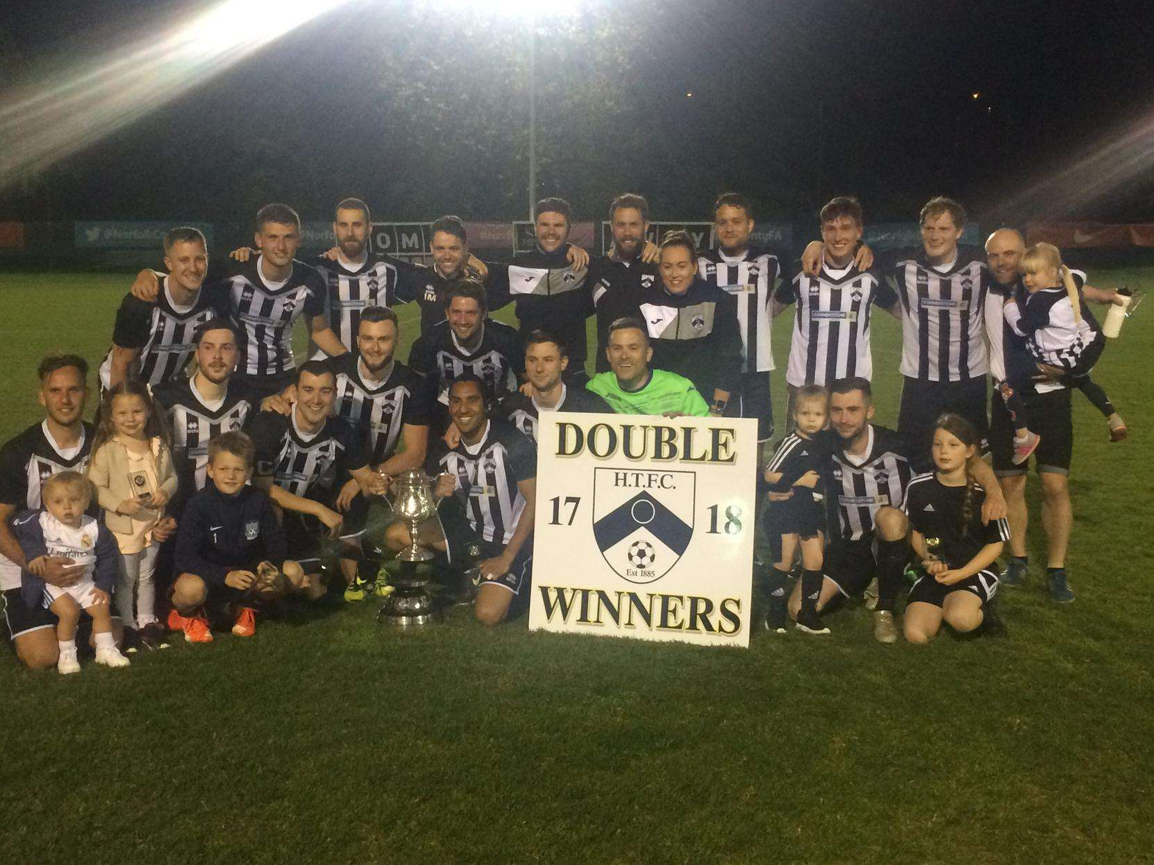 MAKE MINE A DOUBLE: Harleston celebrate their Mummery Cup victory