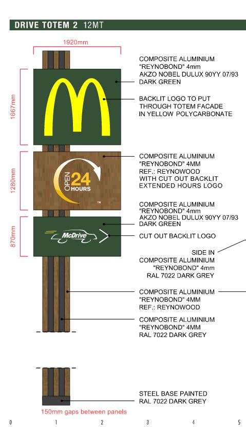 The proposed 12m McDonald's sign