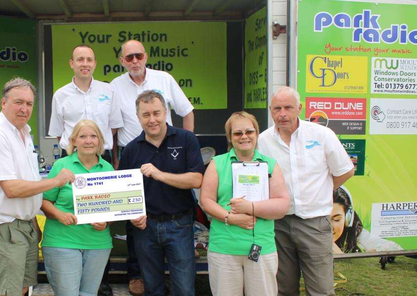 Diss Freemasons Montgomerie Lodge donated �250 to Park Radio at the Diss Carnival in June.