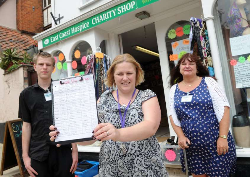 he manager of East Coast Hospice in Diss has started a petition to save the shop from shutting down''Pictured: Bayleigh Anderson (Volunteer), Paula Reeder (Volunteer Manager) and Paula Fowles (Volunteer)'''PICTURE: Mecha Morton