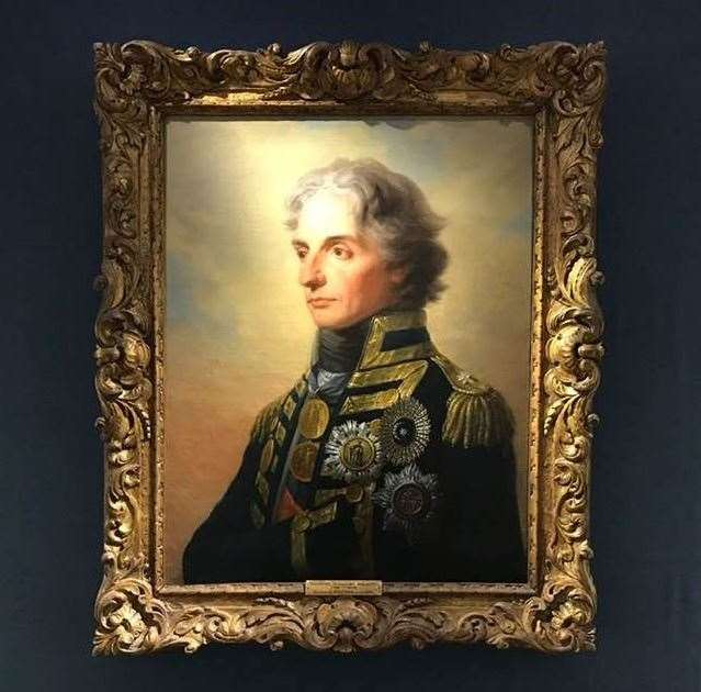 A portrait of Admiral Nelson hangs in the National Museum of the Royal navy in Portsmouth (34147325)