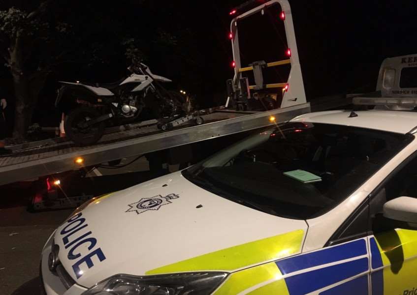 Bike seized at Diss train station after numerous reports of reckless and anti-social driving. Picture: South Norfolk Police.