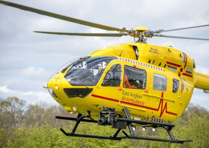 East Anglian Air Ambulances EC145 T2 helicopter ANL-150210-141648001