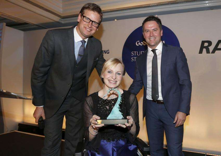 ALL SMILES: Petra Sebestikova receieved her award from Ed Chamberlin and Michael Owen. Picture: Dan Abraham