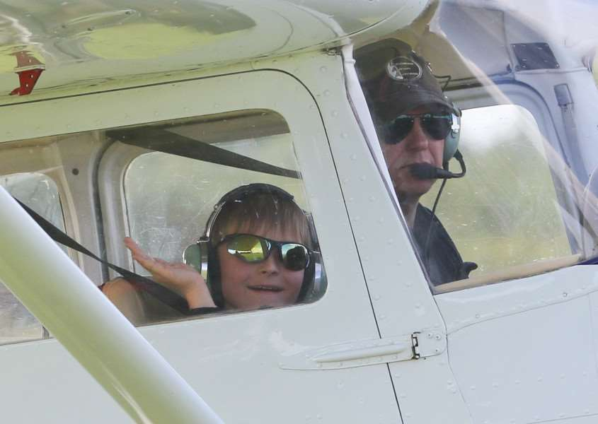 MDEP-30-07-2017-041 Old Buckenham Airshow, local boy James Neale of Quidenham gets his first flight in a light aircraft