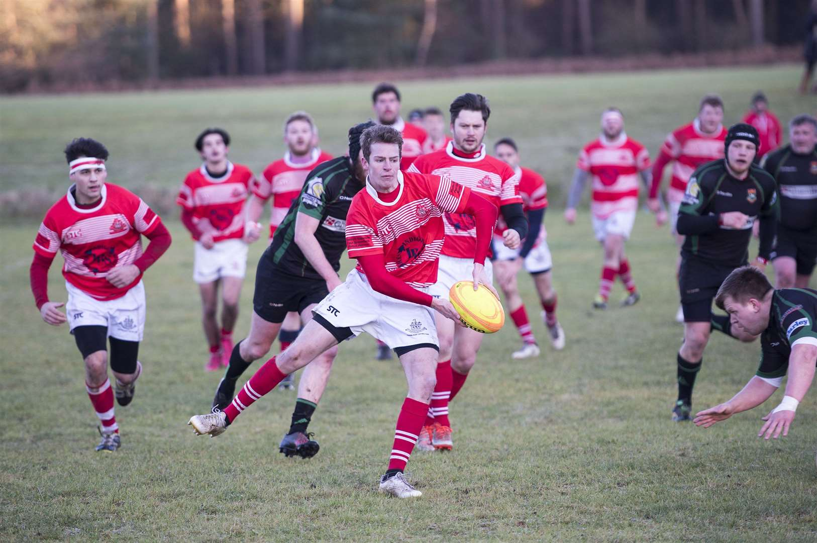 Thetford Rugby Club v Newmarket Rugby Club ..Harry Stenton passing for Thetford..Picture Mark Westley. (35525606)
