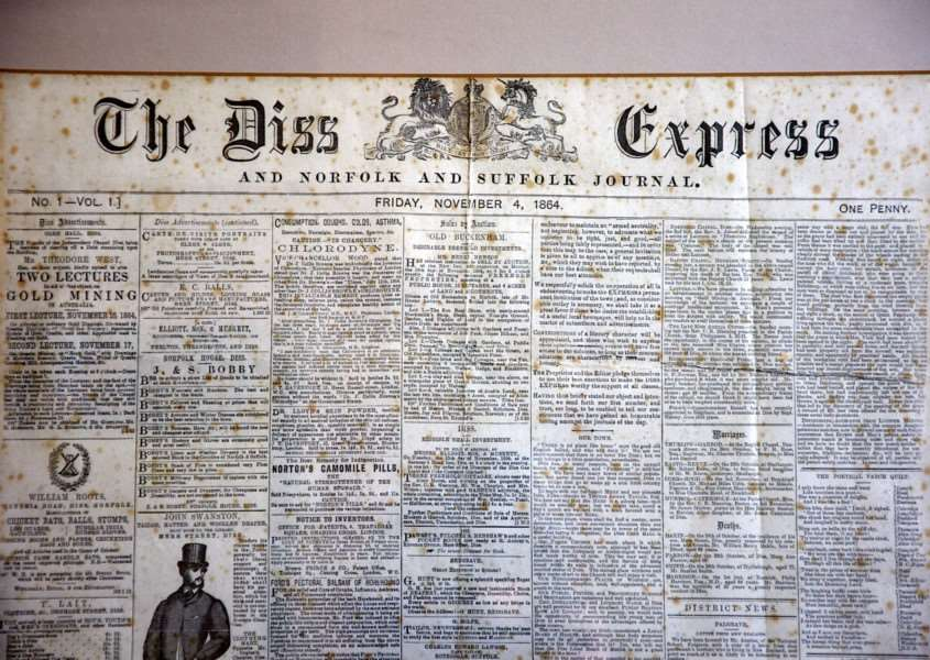 The very first copy of the Diss Express - from 1864