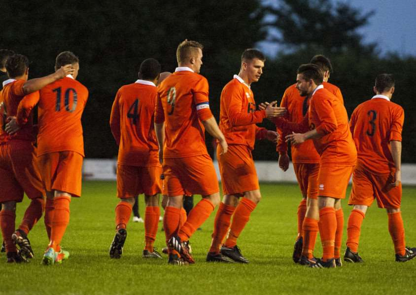 DERBY DELIGHT: Diss Town secured a memorable 7-0 win over rivals Debehnham LC on Tuesday evening
