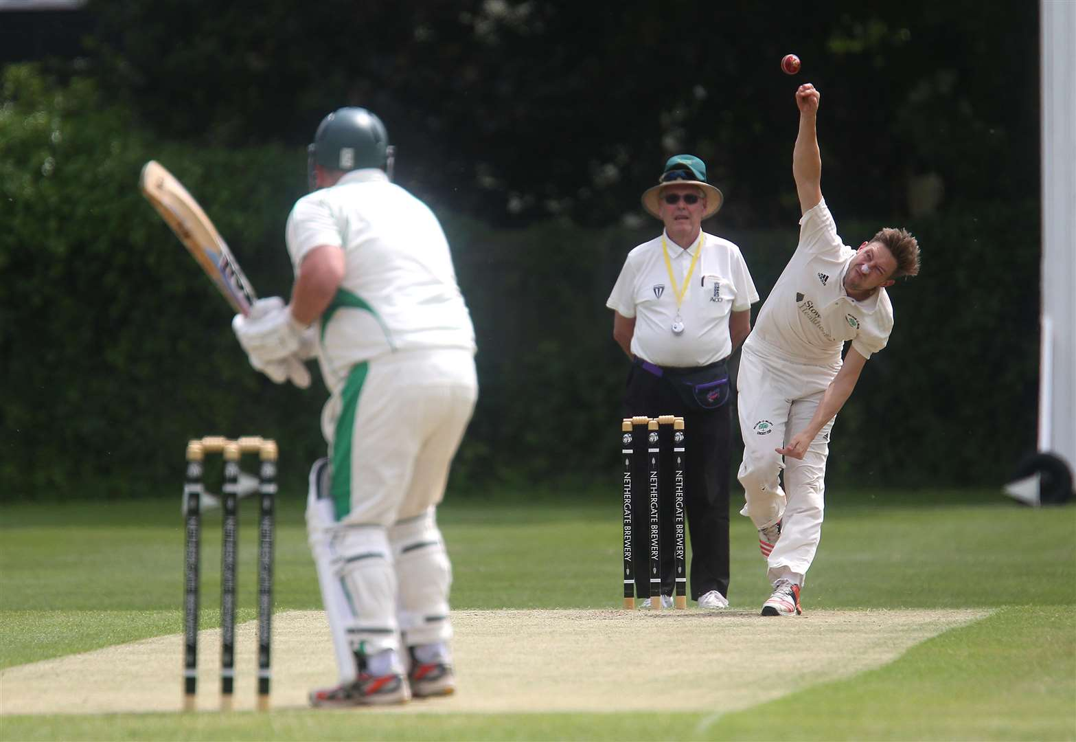 HIGH SCORER: Liam Bryant, pictured bowling, top scored with the bat in Walsham-le-Willows' five-run win at Bury St Edmunds II on Monday. The Walsham captain opened the batting and scored 38 (Pictures: Richard Marsham)