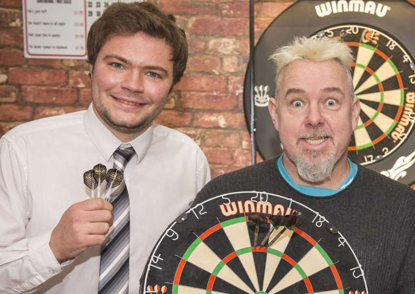 Peter Snakebite Wright feature for the 2016 William Hill World Darts Championship, pictured with Diss Express reporter Zach Ward and Alex Moss from The Bury Free Press.'Picture Mark Westley ANL-150712-202609009