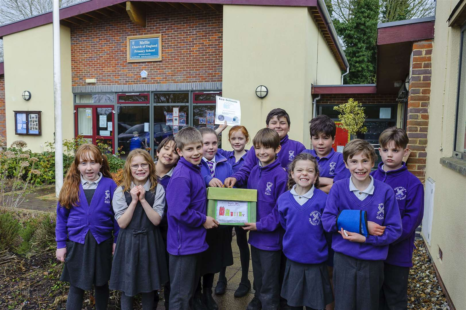 Mellis Primary School pupils are celebrating achieving the Eco-Schools Silver Award. Picture by Mark Bullimore.