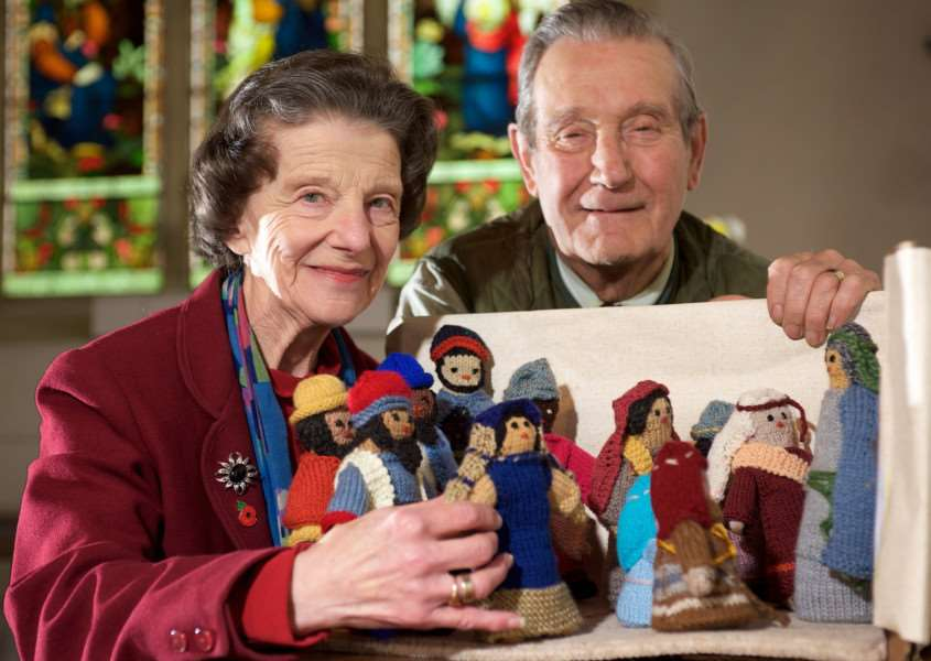 North Lopham, Norfolk. Jenny Vere and others have created over 50 bible scenes out of knitted figures and props to be displayed in the church later this month. Pictured is Jenny with her husband Richard Vere.''Picture: MARK BULLIMORE PHOTOGRAPHY